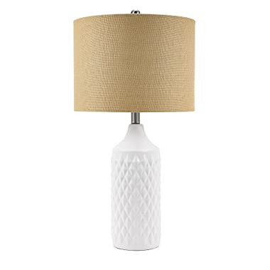 Catalina Lighting 21424-001 Transitional 3-Way Geometric Quilted Ceramic Table Lamp with Linen Shade 26.5  White