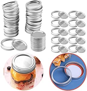 24 Pcs Regular Be Rustproof Mouth Canning Lids and Bands for Mason Jar Canning Lids, Split-Type Lids Leak Proof and Rings Disc with Silicone Seals (Silver 70MM)