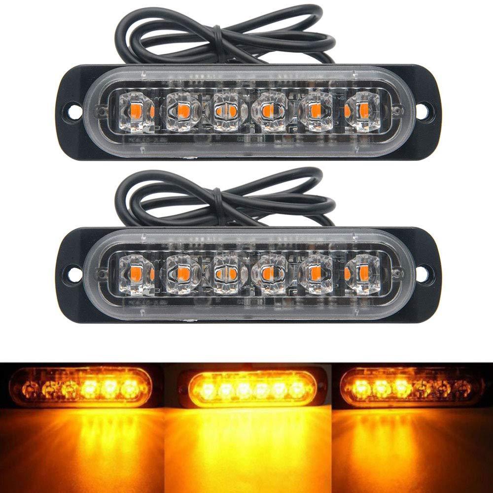 Emergency Strobe Lights, Maso Amber Recovery Car 6LED Light Bar Orange Grill Breakdown Flashing 18 Modes 12/24V Pack of 8