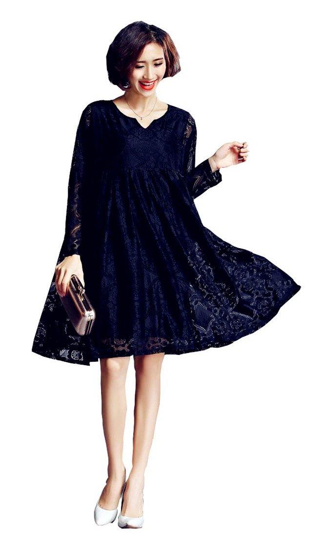 Vincy Show Women Lace Big Swing Long Sleeve Summer Wedding Dress by Vincy Show