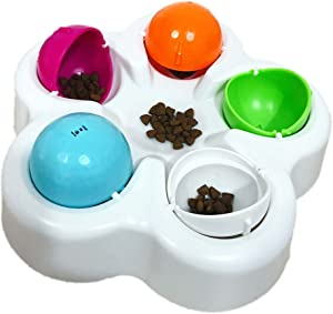 Interactive Dog Puppy IQ Treat Ball Slow Feeder Bowl Nontoxic Dog Food Dispenser Fun IQ Training Educational Game Slow Feed Bowl Food Dispensing Plate Dish Puzzle Toys for Small Medium Large Dogs Cats