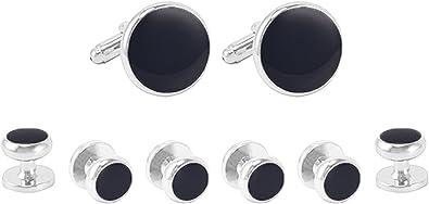 Epinki Hombre Plata Negro Redondo Negro y Plata Gemelos y Botones Camisa Stud Set para Esmoquin Camisa: Amazon.es: Joyería