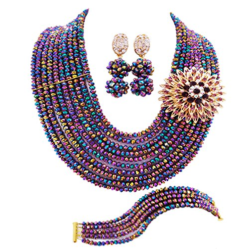 aczuv 10 Rows Classic Crystal Bridal Jewelry Sets Nigerian Wedding African Beads Jewelry Set (Multicolour Plated)