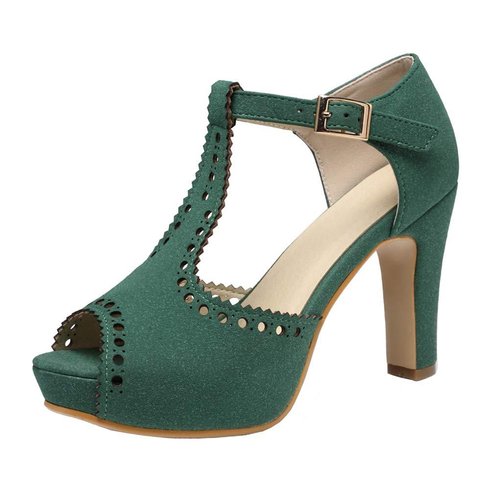 Green getmorebeauty Women's Vintage Suede Ankle T Straps Dress Block Heeled Sandals Pumps