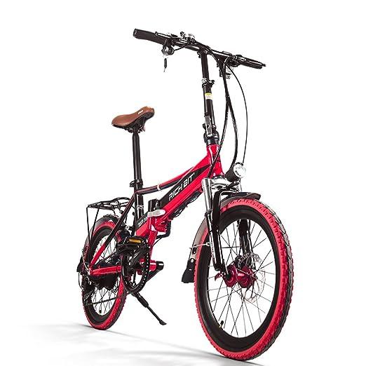 Bicicleta Eléctrica Bicicleta Plegable Rich Bit® RT700 Bici Ciclismo 250 W * 48 V 8Ah LG recargable 7Speed Equipada funda para teléfono cargador y soporte ...