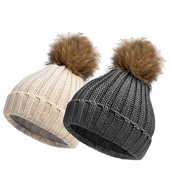 cef77fc0cd10e7 EINSKEY Bobble Hats for Women, 2 Pack Ladies Winter Knitted Beanie Hat Pom  Pom Hat Warm Woolly Cap Ski Snowboard Hats: Amazon.co.uk: Clothing