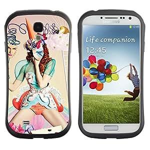 Hybrid Anti-Shock Bumper Case for Samsung Galaxy S4 / Abstract Fantasy Woman