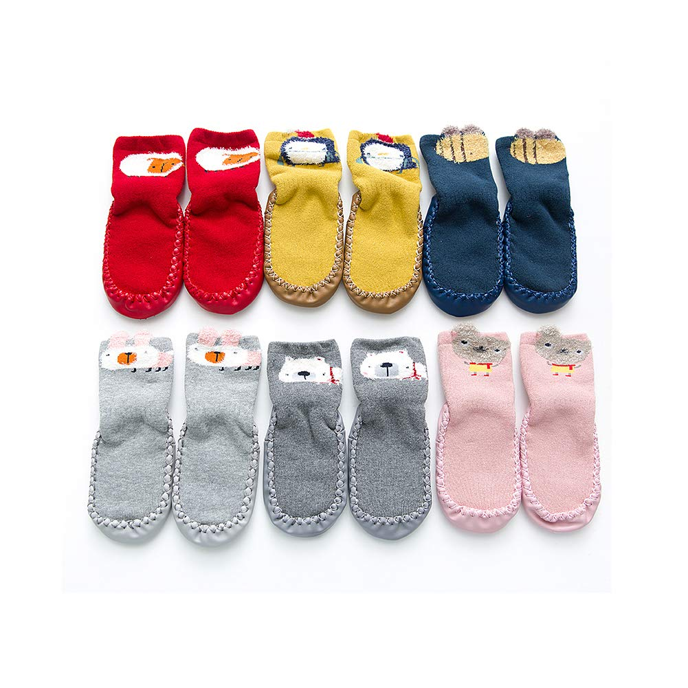 6 Pack Of Cartoon Thicken Cute Winter Warm Baby Toddler Anti Slip Skid Grip Floor Socks Slipper Cotton Prewalker (0-10 Months) by Sunlunckystar