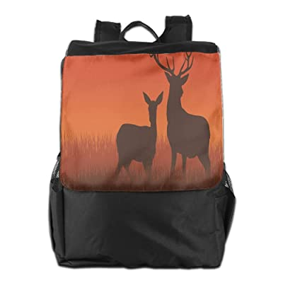 Newfood Ss Silhouette Illustration Of A Deer And Doe On Meadow Autumn Season Skyline Outdoor Travel Backpack Bag For Men And Women