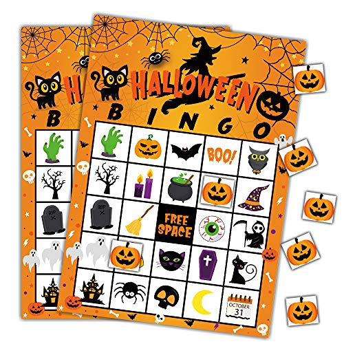 Classroom Halloween Party Invitation (Halloween Games Bingo Cards for Kids Class School Party Supplies Activity)