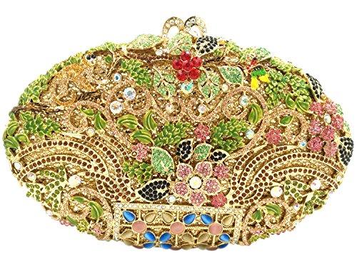 Main Maquillage Soirée Bourse Sac à Bal Femme Bandouliere Mariage Chaîne Sac Fleur pour gold Fête Clutch Pochette YqOA6F