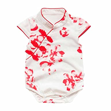 d1dc15bf39 Image Unavailable. Image not available for. Color   White Red Floral   Cotton Baby Romper Chinese ...