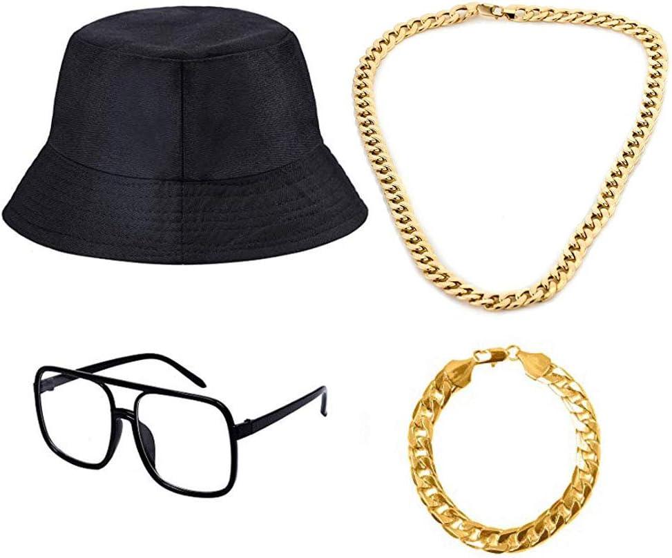 Old Style Coole Rapper Outfits Baumwoll Eimer Hut 80er//90er Party Theme Dekor Gold Ketten und Alt Schule Kariert Brillen f/ür Zubeh/ör Geburtstag Gef/älligkeiten 4 St/ücke 80s 90s Hip Hop Kost/üm Kit