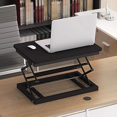 ZHAS Escritorio portátil Plegable, Escritorio de computadora de pie, Escritorio de Oficina, Banco de Trabajo móvil (Color: Negro, tamaño: 50 * 37 cm): Hogar