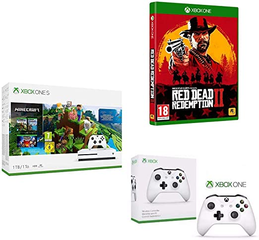 Microsoft Xbox One - Consola S De 1 TB + Minecraft Complete Collection + Red Dead Redemption 2 (Xbox One) + Microsoft Xbox Wireless Controller Blanco Gamepad PC, Xbox One S - Volante/mando: Amazon.es: Videojuegos