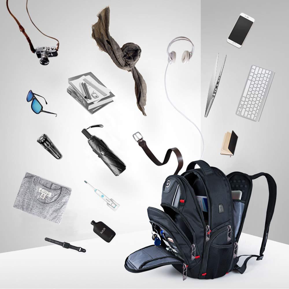 Swissdigital Laptop Backpack Busniess Backpack USB Port,RFID Protection TSA Smart Scan Travel Fits Under 15.6-Inch Laptop Man Black Swissdigital Busniess Backpack with USB Port J14B-1G