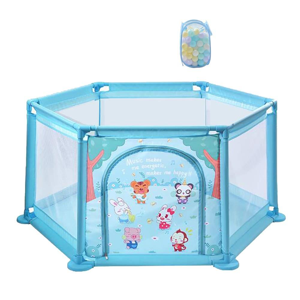 ベビーフェンス ジッパー付き青い子供キッズアクティビティセンター安全な再生ヤード六角形の通気性のメッシュ子供の遊びフェンス取り外し可能な   B07JK2NF6J