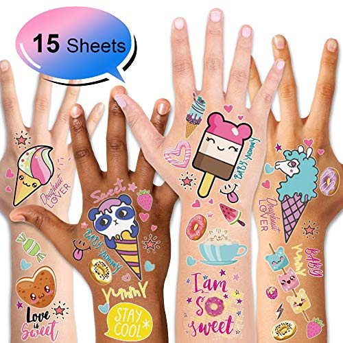 Konsait 15Sheets Kids Temporary Tattoo, Fake Waterproof Tattoo Stickers For Children Girls Candy Lollipop Ice Cream Sweet Tattoos for Birthday Summer Beach Children's Day Gift Party Favors Supplies