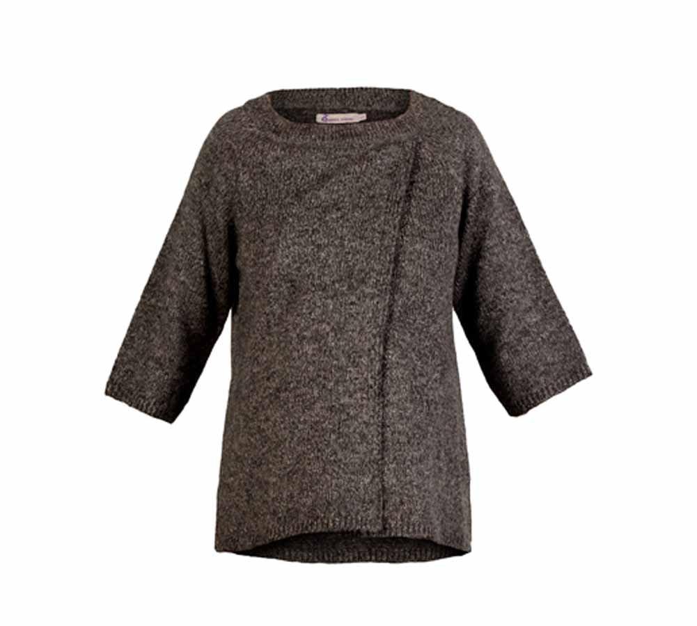 Queen Mum Women's Pull Over Sweater M Grey Melange