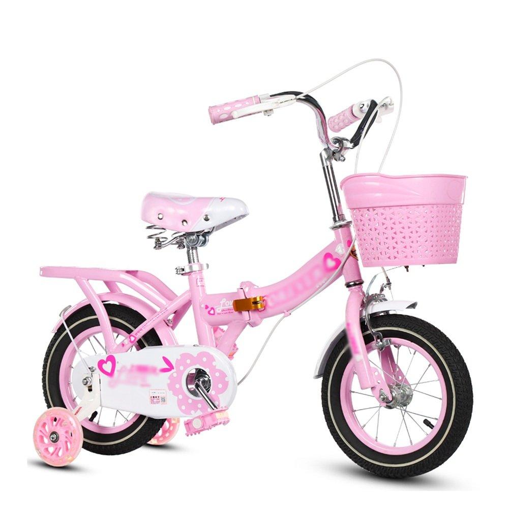 Bicicletas para niños Cochecito Plegable Niñas Princesa Modelos Niños Bicicletas 3-10 Años De Antiguuml;edad Rojo Azul Rosa Púrpura (Color : Pink, Tamaño : 16 Inch)