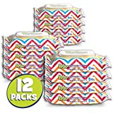 Flushable Baby Wipes for Kids, Sensitive by Kandoo, Resealable for Travel, Hypoallergenic Potty Training Wet Cleansing Cloths for Sensitive Skin, 48 Count, Pack of 12