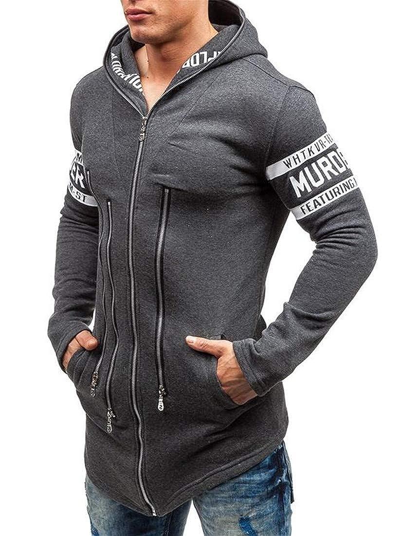 Pluszing Men Zipper Coat Jacket Letter Hoodie Print Slim Sweatshirts