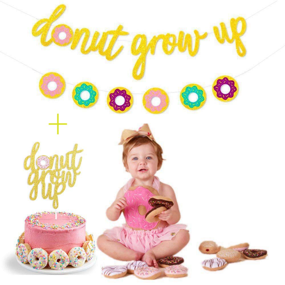 Gold Glitter Donut Grow Up Banner and Donut Grow Up Cake Toppers for Donut Themed Happy Birthday Baby 1st Birthday Party Decoration Bunting Photo Props,Themes Party Supplies for Kids Birthday Party Decorations Holiday Party Decoration