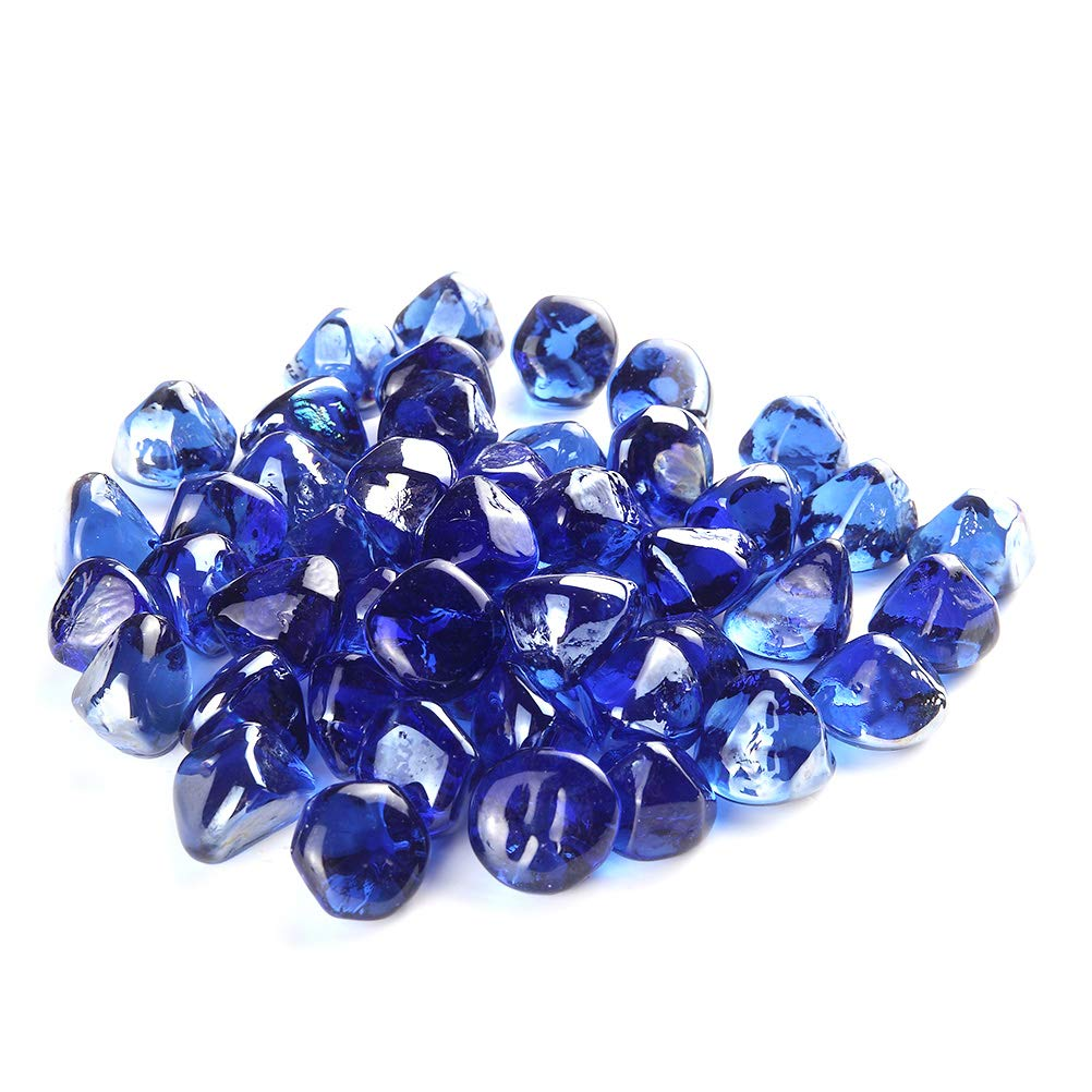 MITOO Fire Pit Glass Rocks - Fire Glass Rocks for Gas Fireplace Indoor & Outdoor Fireplace Rocks, Propane Fire Rocks Beads - Semi-Reflective | 10 Pounds | Unique Diamond Shape, Sapphire-Blue