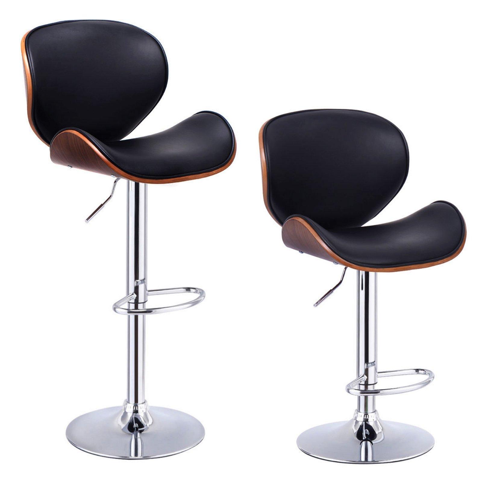 Set of 2 Adjustable Swivel Bentwood Bar Stools Waterproof Anti Aging PU Leather Modern Pub Style Chairs #757