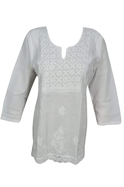 Image Unavailable. Image not available for. Color  Women s Short Tunic  Blouse White Floral Embroidered Top S f82e78c72