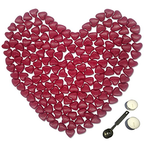 Bead Kit Heart - Sealing Wax Beads, Botokon 150 Pieces Heart Shape Wax Seal Beads Kit with a Wax Melting Spoon and 2 Pieces Candles for Wax Seal Stamp (Wine Red)