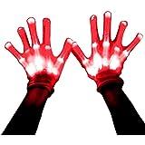 HITOP LED Beleuchtung blinkt Finger begeisterte bunte Handschuhe für Licht Show 1 Paar (Rote)