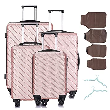 Amazon.com: Juego de 4 maletas con ruedas, maleta rígida ...