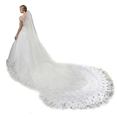 Leekida Ivory 4M Long Cathedral Sequin Wedding Bridal Veil With Comb ...