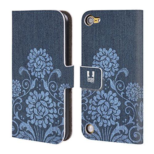 Head Case Designs Floreale Demin Stampato Cover a portafoglio in pelle per iPod Touch 5th Gen / 6th Gen