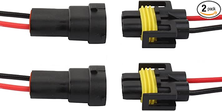 TOMALL H11 H8 Socket for Headlights Fog Lights Replacement Male Female Wiring Harness Connector
