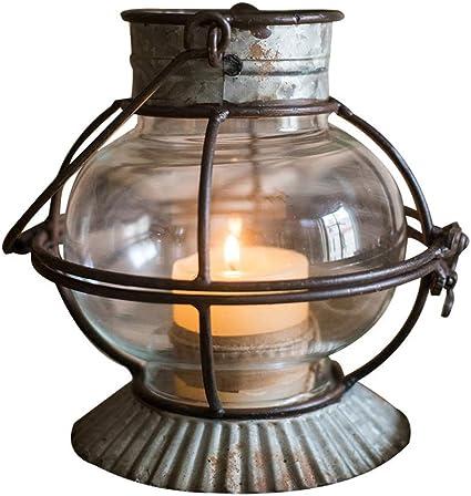 D/écoration Cand/élabres Chandelier Bougie en Fer forg/é de Salon Lampe /à Vent bougeoir Peut /être accroch/é Petite Lanterne Cadeau Bougeoirs Color : Gray, Size : 15 * 15.5cm