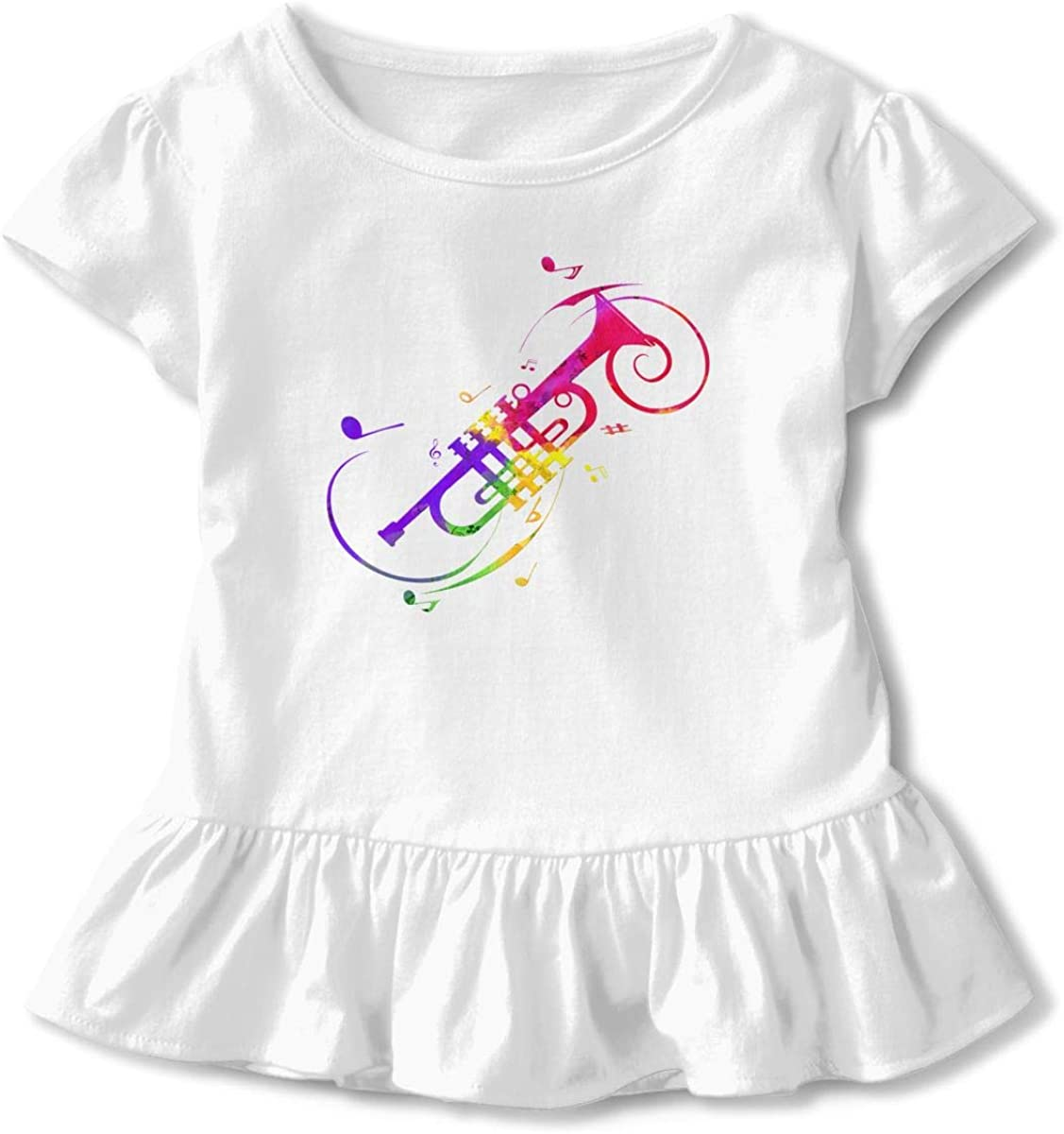 Cheng Jian Bo Trumpet Player Music Toddler Girls T Shirt Kids Cotton Short Sleeve Ruffle Tee