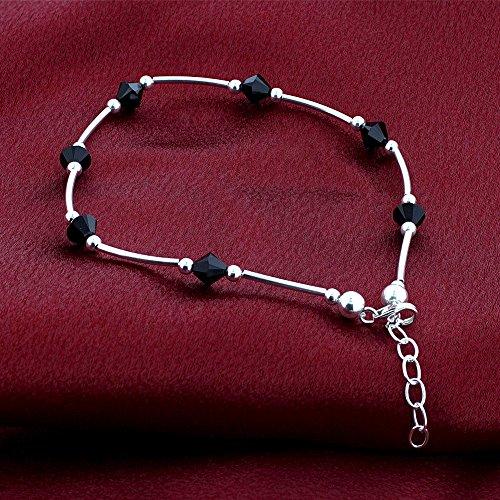 Gem Avenue 925 Sterling Silver Bicone Swarovski Elements Black Crystal 9 to 10 inch Adjustable Anklet Ankle Bracelets for Women