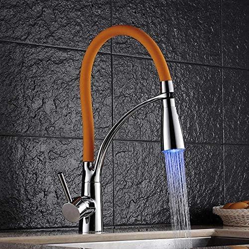 CHENBIN-BB バスルームのシンクは、スロット付き浴室の洗面台のシンクホットコールドタップミキサー流域の真鍮シンクミキサータップ非震とうキッチン蛇口シンクスイベルプル蛇口LED台所温水と冷水の蛇口をタップ