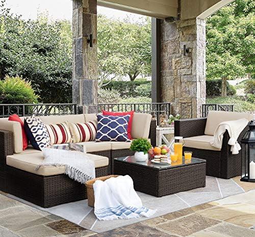 Flamaker 6 Pieces Patio Furniture Set Outdoor Sectional Sofa Outdoor Furniture Set Patio Sofa Set Conversation Set