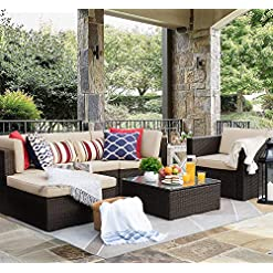 Garden and Outdoor Flamaker 6 Pieces Patio Furniture Set Outdoor Sectional Sofa Outdoor Furniture Set Patio Sofa Set Conversation Set with… patio furniture sets