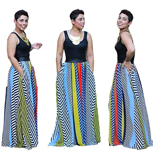 FEITONG Robes New Bohemian Femmes Summer Dress Stripe Imprimer Patchwork longue Maxi Party
