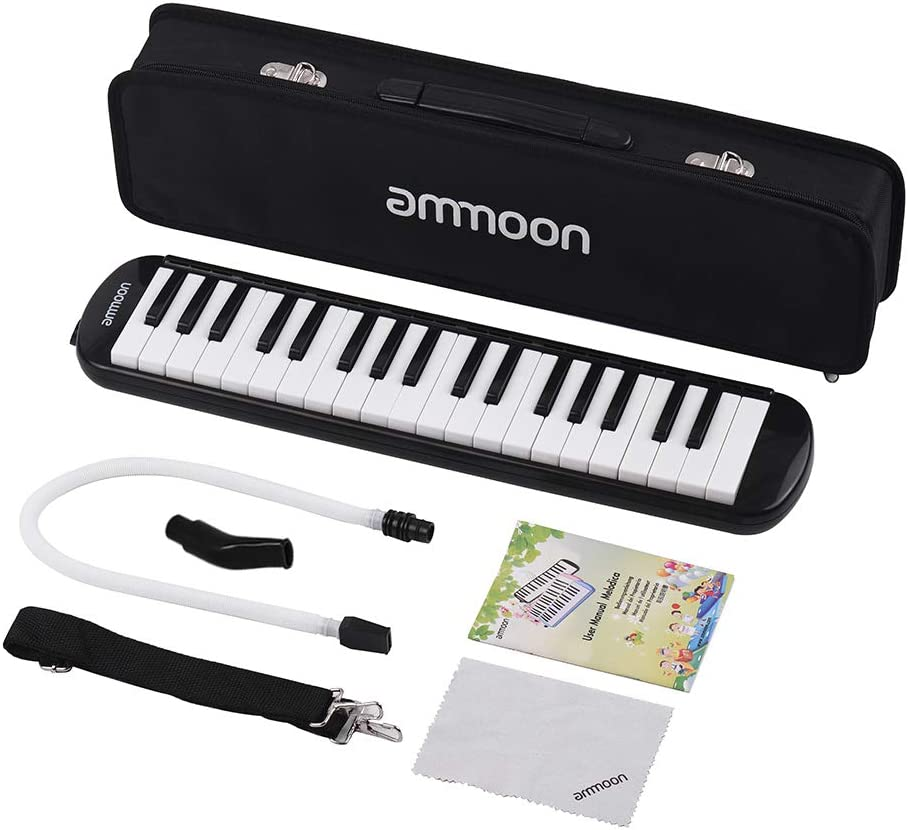 Phomnd Melodica,37 Keys Melodica Pianica Piano Style Keyboard Harmonica Mouth Organ with Mouthpiece Cleaning Cloth Carry Case for Beginners Kids Musical Gift