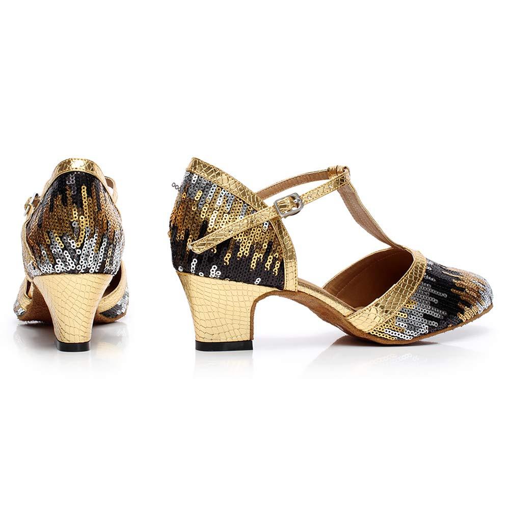 JRYYUE Frauen Frauen Frauen Satin Lateinische Tanzschuhe Glitter T-Strap Dance Schuhe Geschlossene Zehe Funkelnde Glitzer B07PRGGG1D Tanzschuhe Ausgezeichnet 9418b9