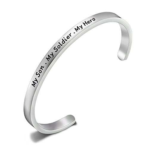 05a2d9e87dd TGBJE My Son My Soldier My Hero Bracelet Soldier Mom Cuff Bracelet Army Mom  Navy Mom