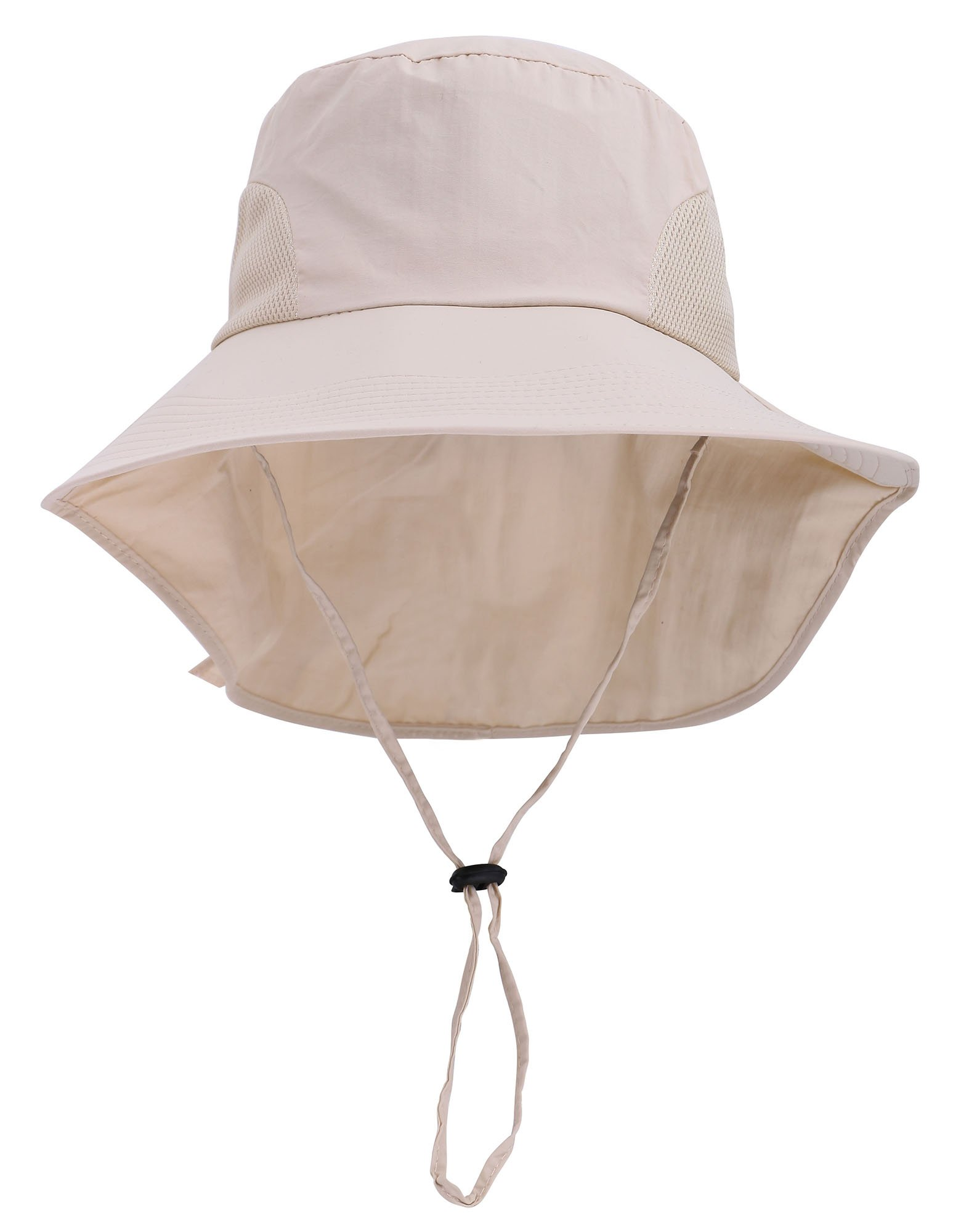 Denovit SPF 50+ UV Sun Protective Foldable Travel Bucket Hat w/Neck Flap,Cream