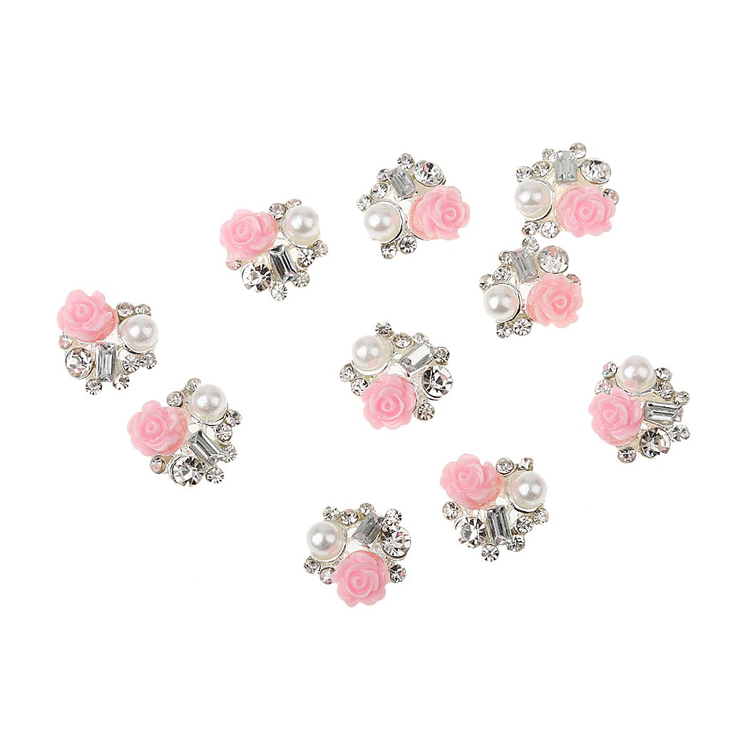 10pcs 3D Nail Art Tips Decoration Flower Pearl Rhinestone DIY Accessory Generic