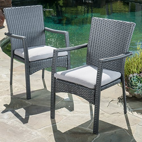 Christopher Knight Home Tigua Outdoor Grey Wicker Dining Chair with Cushions (Set of 2) (Chairs Gray Wicker)
