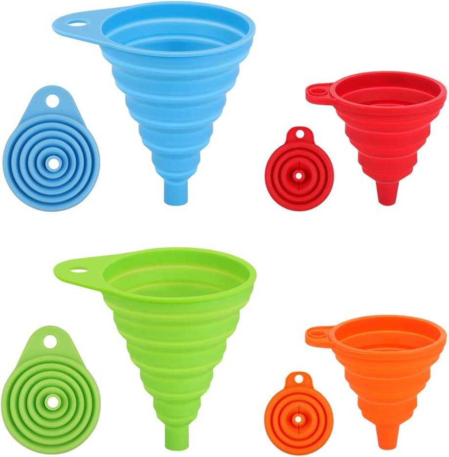 Silicone Collapsible Funnel, Small and Large, 4pcs Flexible Silicone Foldable Kitchen Funnel for Water Bottle Liquid Transfer Hopper Food Grade Silicone Funnel